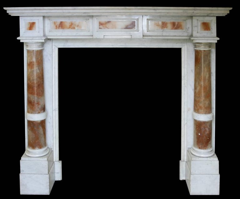 European Antique Mid-19th Century Continental Carrara Marble Fire Surround For Sale