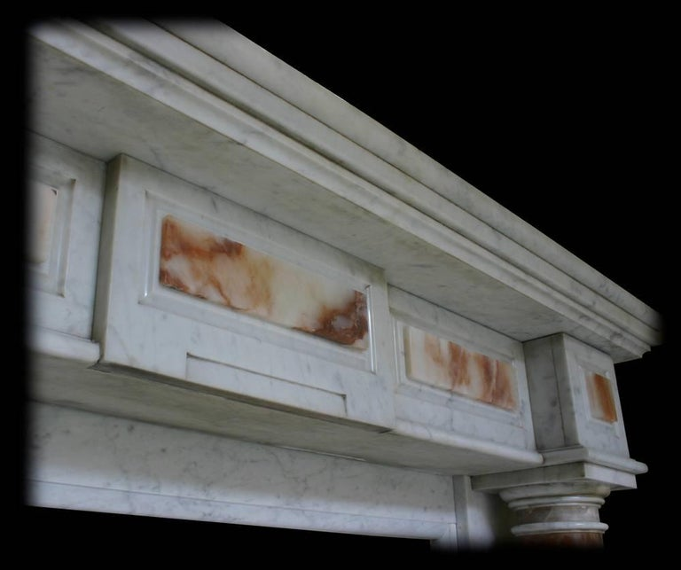 Antique Mid-19th Century Continental Carrara Marble Fire Surround In Good Condition For Sale In Manchester, GB