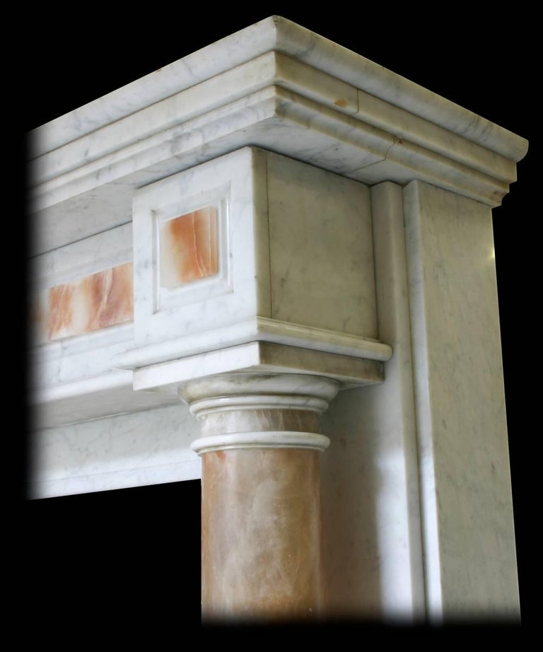 Late 19th Century Antique Mid-19th Century Continental Carrara Marble Fire Surround For Sale