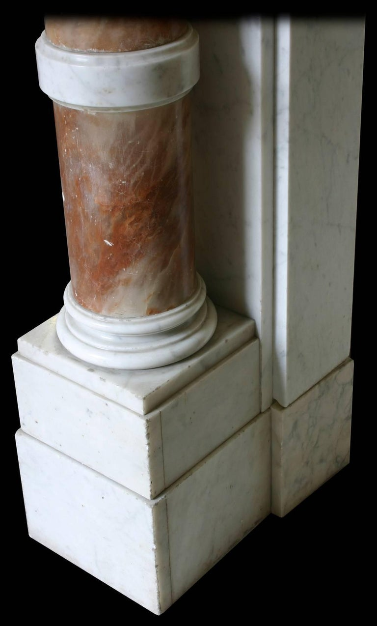 Alabaster Antique Mid-19th Century Continental Carrara Marble Fire Surround For Sale