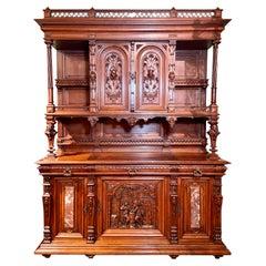 Antique Mid 19th Century French Premier Carved Walnut Vesalier Cabinet