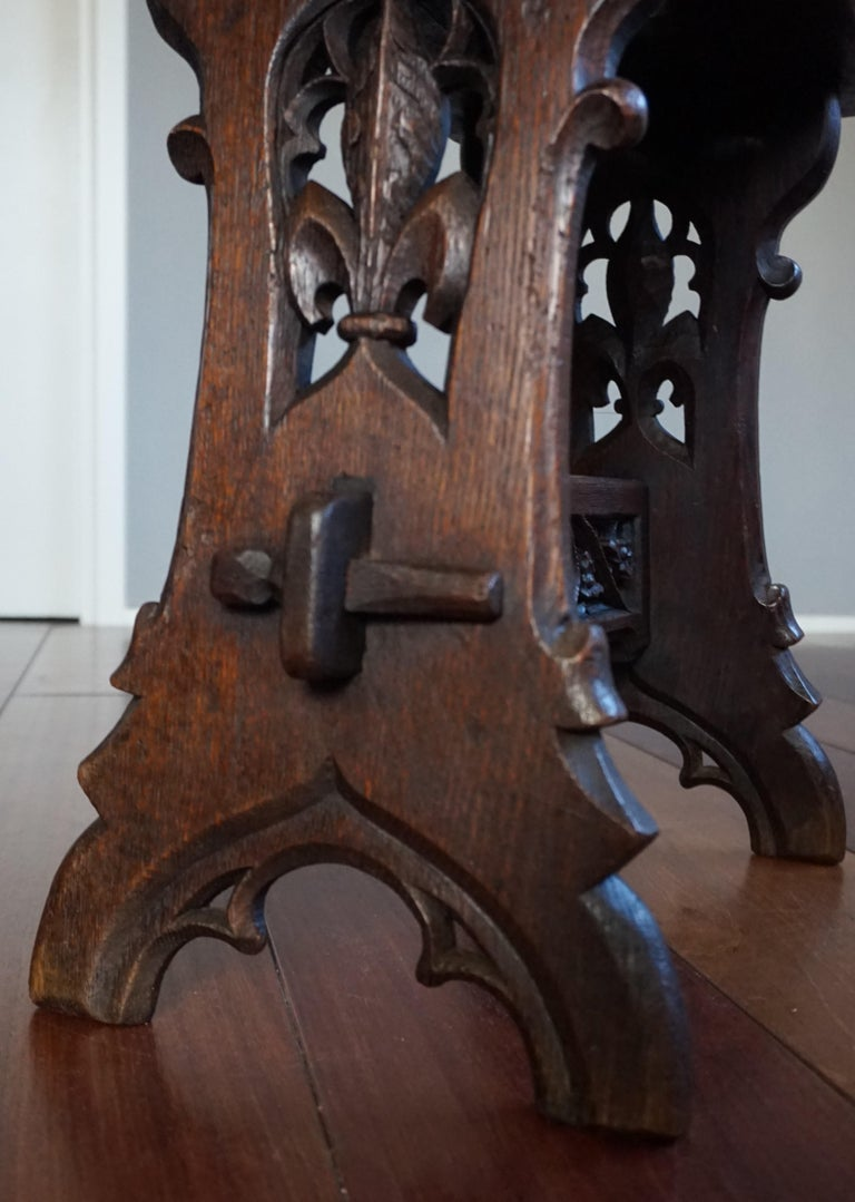 Antique Mid-19th Century Gothic Revival Stool with Hand Carved Lily Symbols For Sale 5
