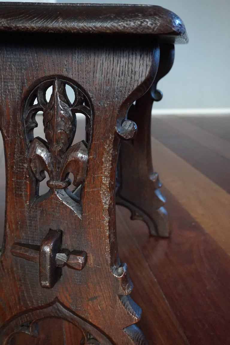 Antique Mid-19th Century Gothic Revival Stool with Hand Carved Lily Symbols For Sale 6