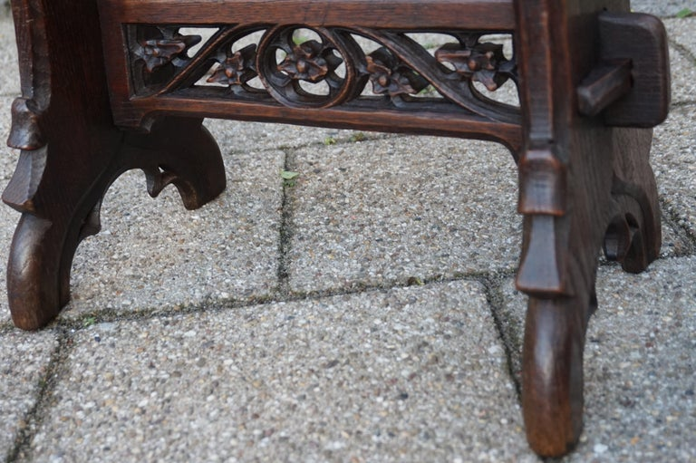 Antique Mid-19th Century Gothic Revival Stool with Hand Carved Lily Symbols For Sale 8