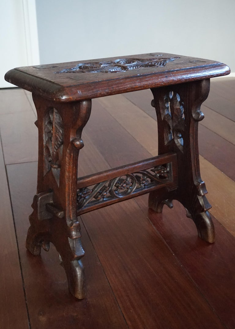 Antique Mid-19th Century Gothic Revival Stool with Hand Carved Lily Symbols For Sale 9