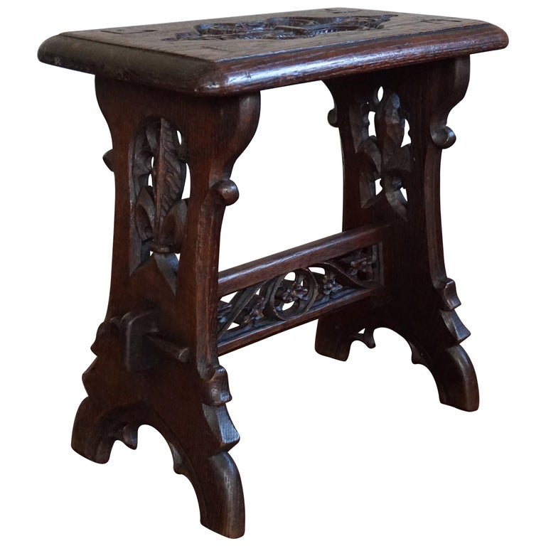 Antique Mid-19th Century Gothic Revival Stool with Hand Carved Lily Symbols For Sale