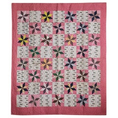 "Antique Mid-19th Century Handmade Patchwork ""Cross Roads"" Quilt in Pink Patterns"