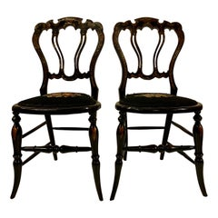 Antique Mid-19th Century Lacquer Side Chairs with Mother of Pearl Inlay