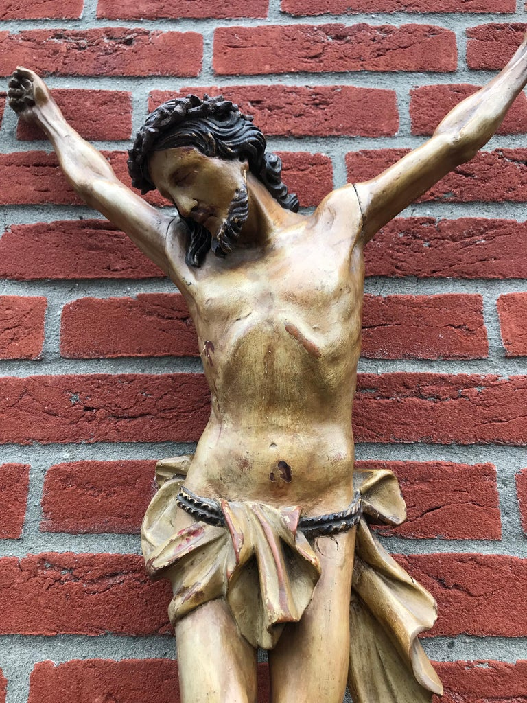 Amazing sculpture and an impressive work of religious art.   Whenever we find a hand-carved corpus of Christ, we always first look at the details, the uniqueness, the condition and the overall 'look and feel'. This both handcrafted and hand-painted