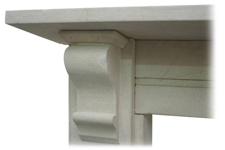 English Antique Mid-19th Century Victorian Limestone Fireplace Mantel For Sale
