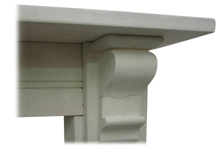 Antique Mid-19th Century Victorian Limestone Fireplace Mantel In Good Condition For Sale In Manchester, GB