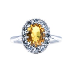 Antique, Mid Century, 18ct White Gold, Yellow Sapphire and Diamond Ring