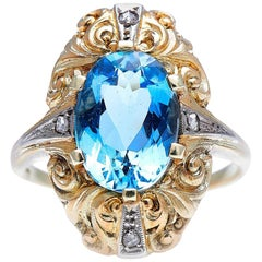 Antique, Midcentury, 1930s, 14 Carat Gold, Aquamarine and Diamond Ring