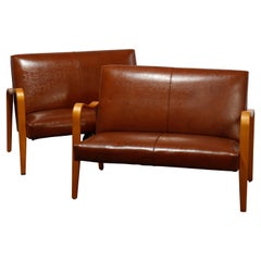 Antique Mid-Century Modern Pair of Thonet Laminated Leather Settees, 20th C