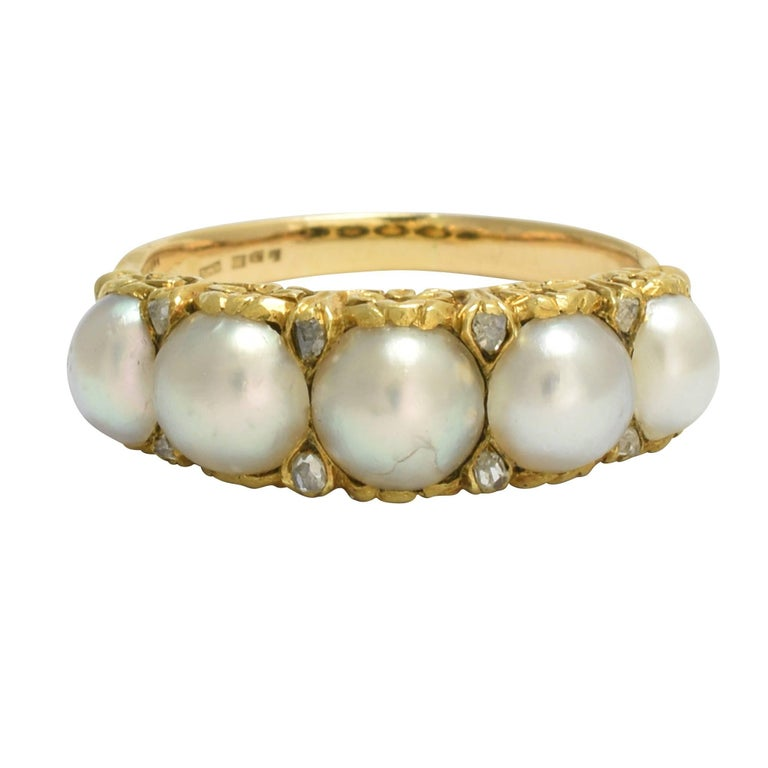 Antique Mid-Victorian Five-Stone Pearl Diamond Gold Ring