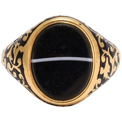 Antique Mid-Victorian Banded Agate Memorial Signet Ring