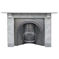 Antique Mid Victorian Carrara Marble Fireplace Surround