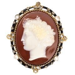 Antique Mid-Victorian Diamond Pearl Hardstone Cameo Brooch