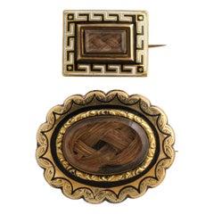 Antique Mid Victorian Gold Memorial Pins
