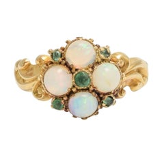 Antique Mid-Victorian Opal Emerald Cluster Ring