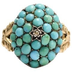 Antique Mid-Victorian Pavé Turquoise Diamond Dome Ring