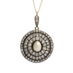 Antique Mid-Victorian Pearl Diamond Halo Pendant Necklace