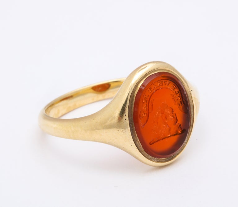 Oval Cut Antique Mid Victorian Scottish Carnelian Signet Ring For Sale