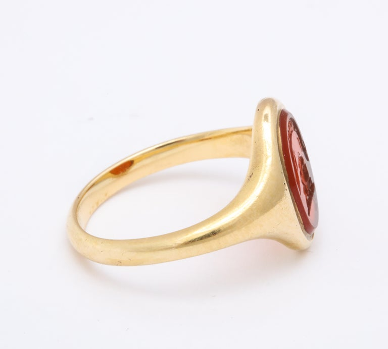 Antique Mid Victorian Scottish Carnelian Signet Ring In Excellent Condition For Sale In Stamford, CT
