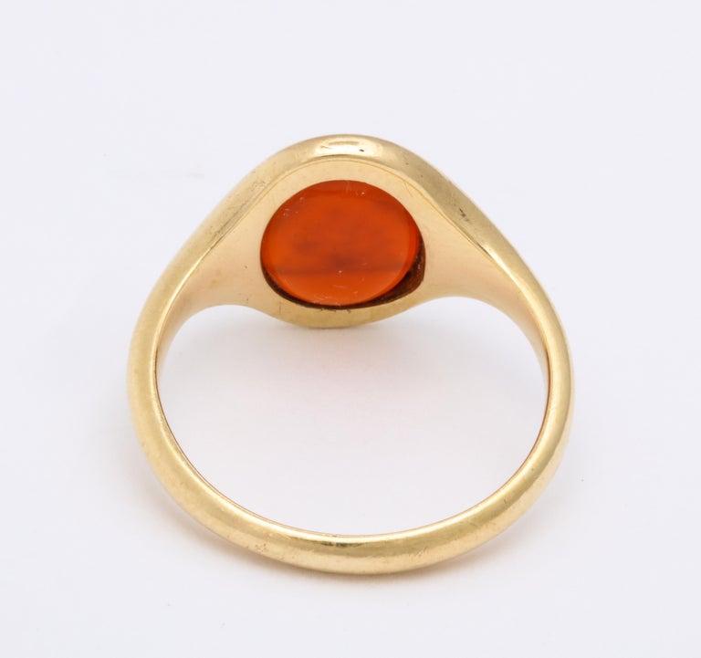 Women's or Men's Antique Mid Victorian Scottish Carnelian Signet Ring For Sale
