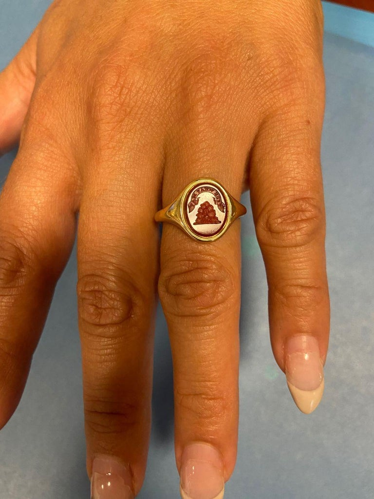 Antique Mid Victorian Scottish Carnelian Signet Ring For Sale 2