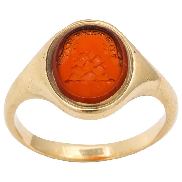 Antique Mid Victorian Scottish Carnelian Signet Ring For Sale