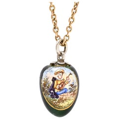 Antique Mid-Victorian Swiss Enamelled Egg Pendant