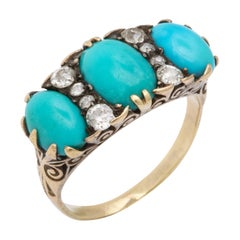 Antique Mid Victorian Turquoise and Diamond Ring