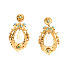"Antique Mid-Victorian Turquoise ""Crescent & Star"" Earrings"