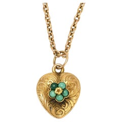Antique Mid Victorian Turquoise Pansy Heart Locket