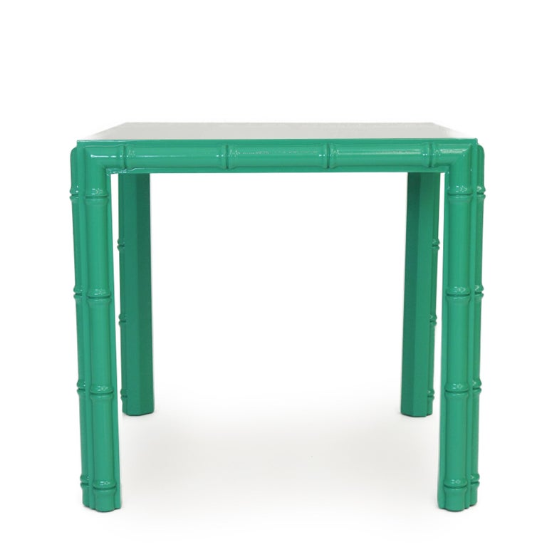 Lacquered Antique Midcentury Faux Bamboo Side Table For Sale