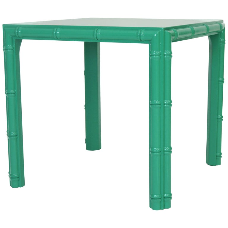 Antique Midcentury Faux Bamboo Side Table For Sale