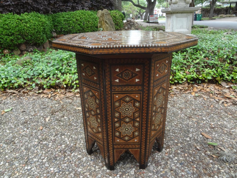 Antique Middle Eastern Arabesque Style Mother of Pearl Inlaid Table For Sale 3