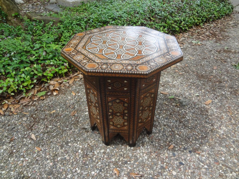 Antique Middle Eastern Arabesque Style Mother of Pearl Inlaid Table For Sale 5