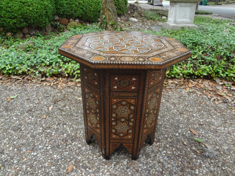 Unknown Antique Middle Eastern Arabesque Style Mother of Pearl Inlaid Table For Sale