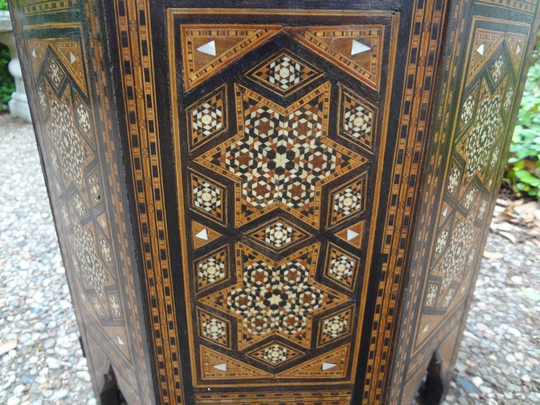 Early 20th Century Antique Middle Eastern Arabesque Style Mother of Pearl Inlaid Table For Sale