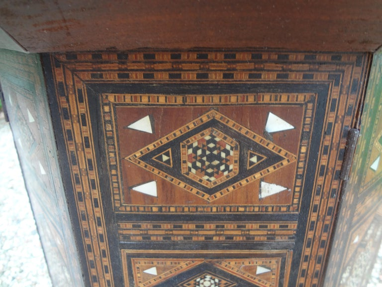 Bone Antique Middle Eastern Arabesque Style Mother of Pearl Inlaid Table For Sale