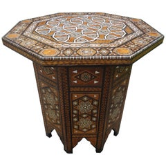 Antique Middle Eastern Arabesque Style Mother of Pearl Inlaid Table