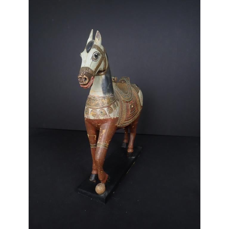 Anglo-Indian Antique Middle Eastern Carved and Paint Decorated Sculpture of a Horse For Sale
