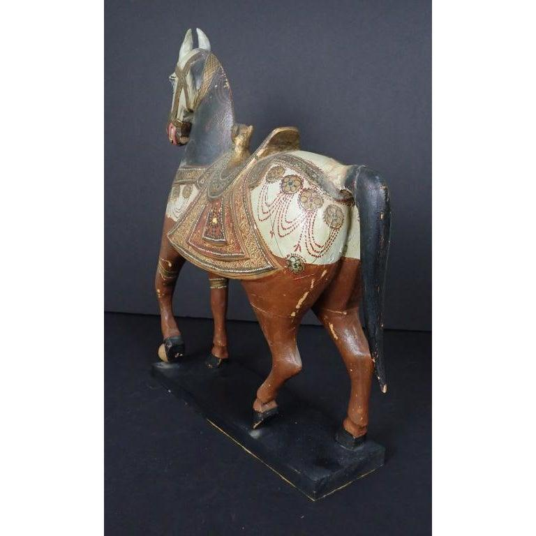 Hand-Carved Antique Middle Eastern Carved and Paint Decorated Sculpture of a Horse For Sale
