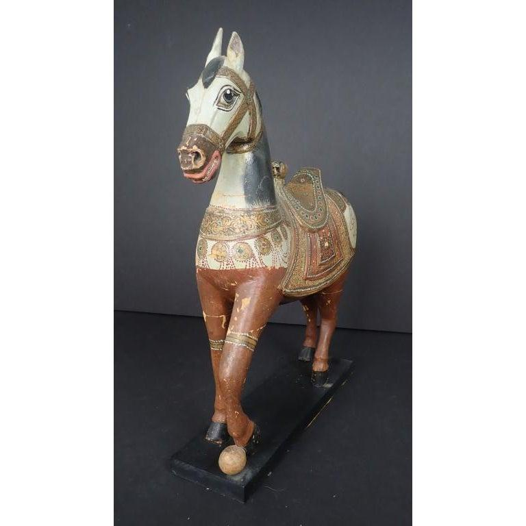Antique Middle Eastern Carved and Paint Decorated Sculpture of a Horse In Good Condition For Sale In Norwood, NJ