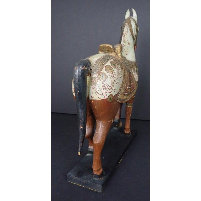 19th Century Antique Middle Eastern Carved and Paint Decorated Sculpture of a Horse For Sale
