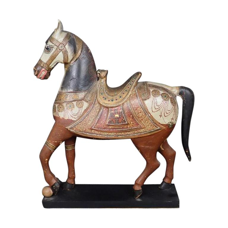 Antique Middle Eastern Carved and Paint Decorated Sculpture of a Horse For Sale