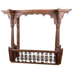 Antique Mihrab Arched Teak Balcony or Veranda, 20th Century