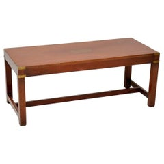 Antique Military Campaign Mahogany and Brass Coffee Table